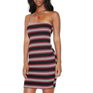 Red White Black Striped Knit Strapless Dress